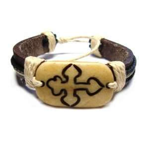 Feudal Cross Tribal Leather Bracelet with Earthtone Cord