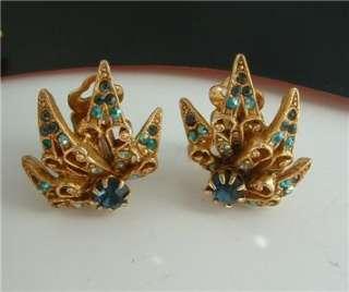 Green AB Rhinestone FLOWER Brooch Earrings Demi Paure SET ART