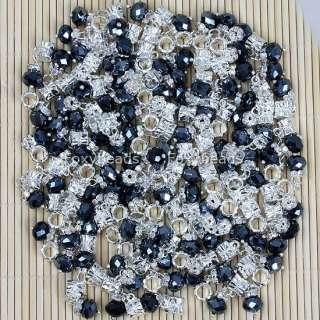 100P DANGLE *BLACK CRYSTAL GLASS LARGE HOLE CHARM BEADS