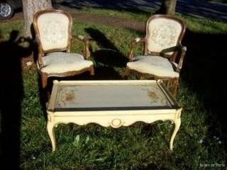 GORGEOUS vintage COFFEE TABLE~Shabby Hand Painted ROSES~French Style
