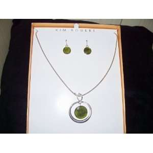 3 Piece Necklace and Earring Set   Forest Green