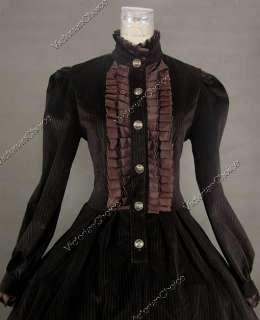Civil War Victorian Panne Velvet Ball Gown Dress Prom Punk 182 S