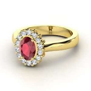 Princess Kate Ring, Oval Ruby 14K Yellow Gold Ring with