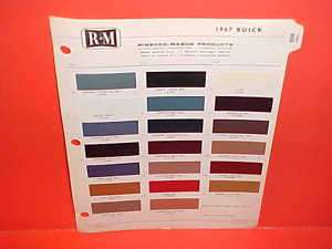 1967 BUICK RIVIERA GS 340 400 PAINT CHIPS COLOR CHART