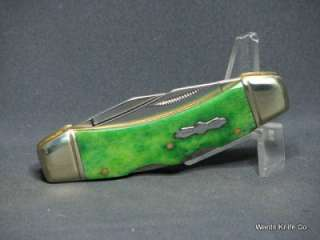 Rough Rider Double Lockback Knife Smooth Green Handles.RR364