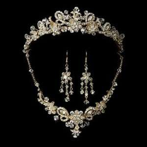 Swarovski Crystal Bridal Necklace Earring & Tiara Set 7821