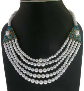 FOUX PEARL 5 STRAND WHITE & TURQUOISE CZ NECKLACE EARRINGS SET ( GOLD