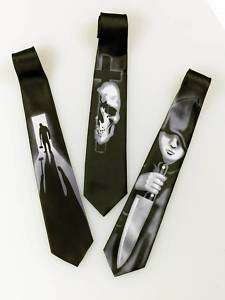 Skull Cross Goth Mens Tie Halloween Horror