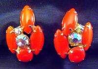 Vintage Orange Coral Color Earrings Marquis & AB Rhinestones