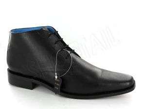 MENS BLACK LACE UP PLAIN LEATHER ANKLE BOOTS Sizes 6 11