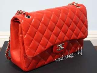 BAG CLASSIC JUMBO RED ORANGE LIPSICK SILVER HARDWARE LAMBSKIN |