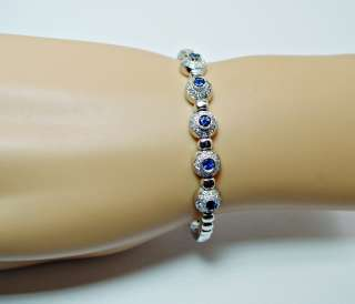 Alan Friedman 18K White Gold Sapphire Diamond Bracelet Estate Jewelry