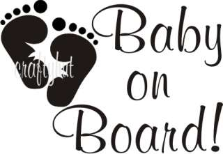 BABY ON BOARD VINYL STICKERS/CAR DECALS BABY FOOT DECAL