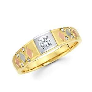 Size  12   14k Yellow Gold Tri 3 Color Gold Diamond Wedding Ring Band
