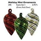 Set of 3 Global Village Glass Studios Holiday Mini Pine Cone Ornaments