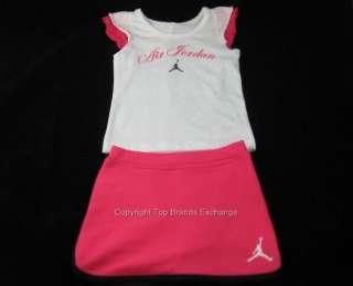 Girls Infant Baby Nike Air Jordan Outfit Tank Top Shirt Skirt Pink 12