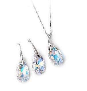 Aurora Borealis Crystal Teardrop Set use Swarovski Crystal