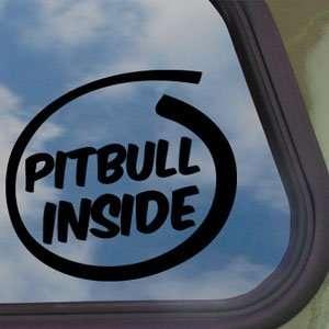Pitbull Inside Paws Bone Black Decal Dog Window Sticker