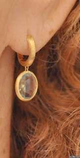 New $1280 MARCO BICEGO Jaipur 18K Gold Blue Topaz Hoop Drop Earrings