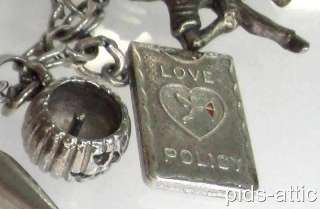 Silver Charm Bracelet Unusual Mechanical Love Insurance Policy