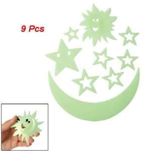 Stars Moon Sun Shape Luminous Plastic Glow In Dark Sticker 9 Pcs Home