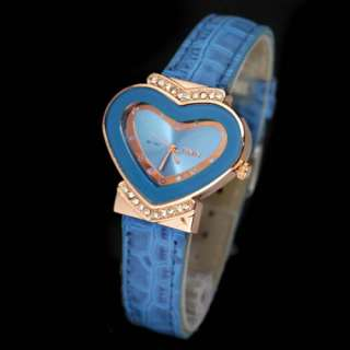 Colorful Cute Fashion Ladies Girls Leather Heart shaped WristWatch