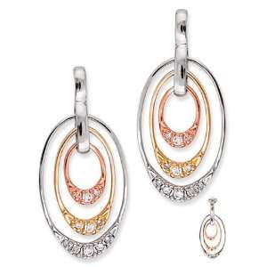 Oval Yellow Rose White Gold Plated CZ. Diamond Drop Earrings Jewelry
