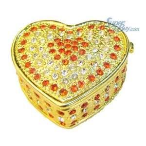 Golden Heart Box   Jewelry Trinket Box Swarovski Crystal