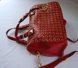 498 Michael Kors Grayson Grommet Large Satchel Red