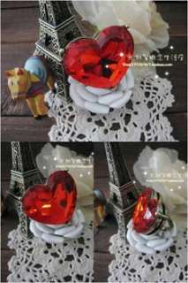 Fashion Love & Big Red Heart Rhinestone Cute Ring Rings w159 great