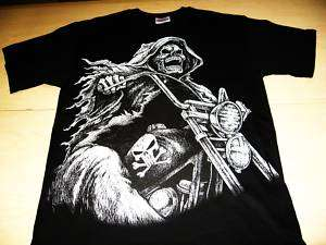 GRIM REAPER RIDING CHOPPER T SHIRT BLACK SIZE XL NEW