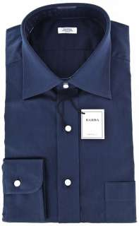 New $325 Barba Napoli Navy Blue Shirt 16.5/42