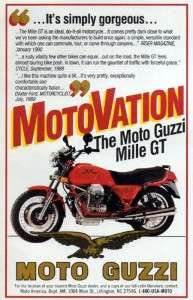 1991 Moto Guzzi Mille GT Motorcycle Original Color Ad