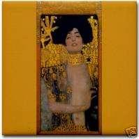 Gustav Klimt Ceramic Art Deco Tile Judith & Holofernes