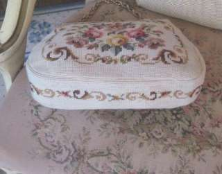 Floral/PINK ROSES Needlepoint Purse by CHRISTINE of DETROIT Vintage