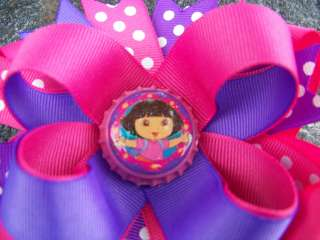 DORA HOT PINK & PURPLE SPARKLE BOTTLECAP HAIRBOW