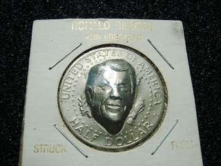 PRESIDENT RONALD REAGAN ART COIN ON 1980 KENNEDY HALF