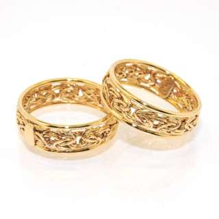 Framed Byzantine Band Ring Yellow White Rose Gold 14K Size Color