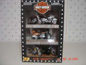 HARLEY DAVIDSON MOTORCYLES SET /DISPLAY DIECAST MODELS