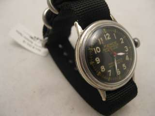 1942 WWII PIERCE PARASHOCK BLACK + GOLD 24 HR DIAL SWEEP SECONDS