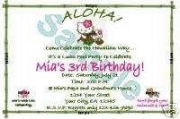 Hello Kitty Invitations Birthday Luau Hawaiian Party