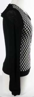 Moschino Minnie Mouse Small Black Checkered Knit Womens Top