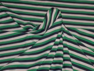 STRIPED LYCRA FABRIC GREEN WHITE NAVY BLUE STRIPES BTY