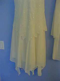 New Ivory Beaded Cocktail Dress Pointed Hem MEDIUM Cute