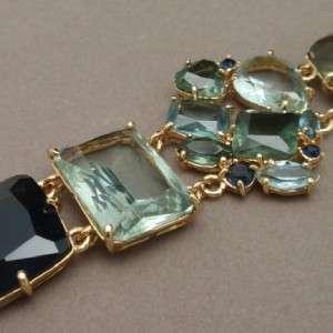 Monet Bracelet & Earrings Set with Large Blue & Green Stones