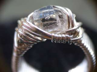 Herkimer Diamond Quartz Crystal in Silver Wrapped Ring, sz. 4.5