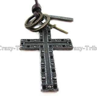 men boys Genuine leather necklace charm choker Cross pendant