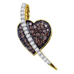 Chocolate Brown Diamond Heart Love Pendant. 10k Yellow Gold (.53cttw