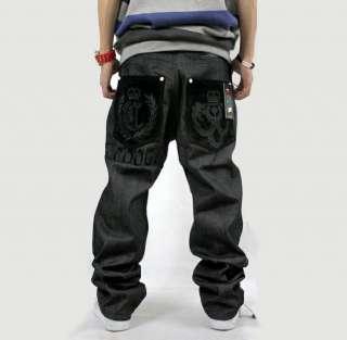 mens jeans baggy embroidery loose hip hop denim streetwear size w30 42