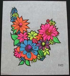 Vtg t shirt iron on~Colorful Flowers~Hippie Art~1960s